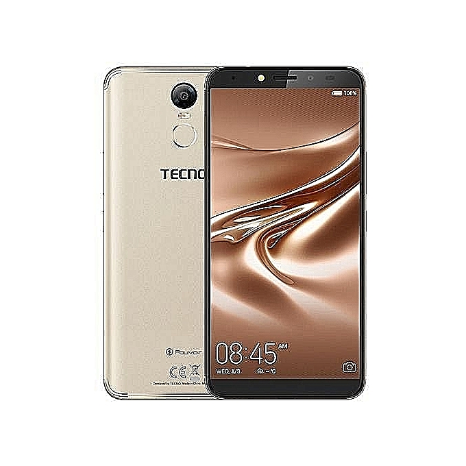 Tecno Pouvoir 2(LA7 ) – Android 8.1, 1.3ghz Quad-core 4G LTE, 6.0″ HD IPS 13MP + 13MP Camera With Flash,32GB ROM + 3GB RAM And ,5000mah Battery,with Face Identification Sensor Plus Finger Print Sensor – Honor Gold